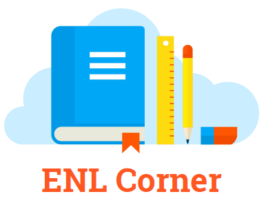 Picture with school supplies that says ENL Corner