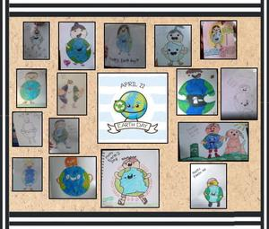 Person hugging the Earth drawings from Room 310 collage