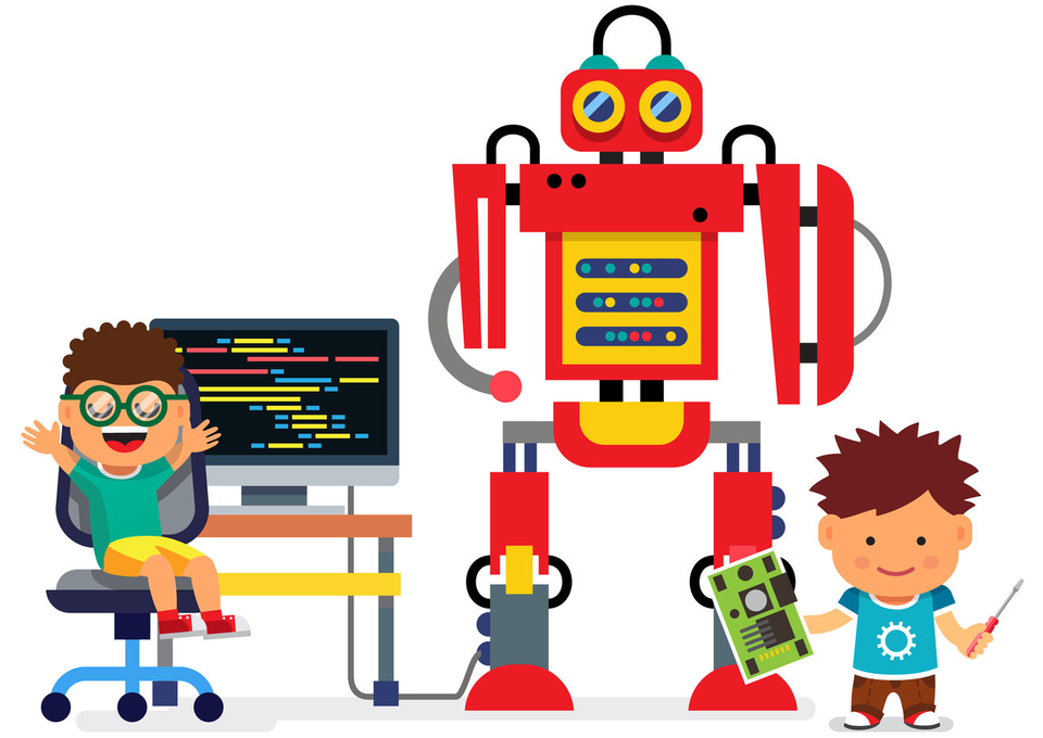 Technology robot and students