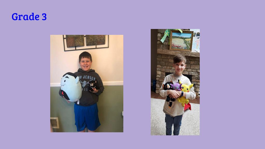 Photo of Jefferson School students pictured with stuffed animals during distance learning.