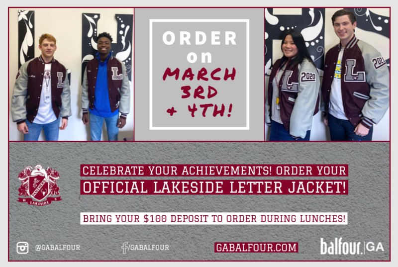 order your Official Lakeside Letter Jacket