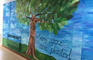 Painted mural of tree