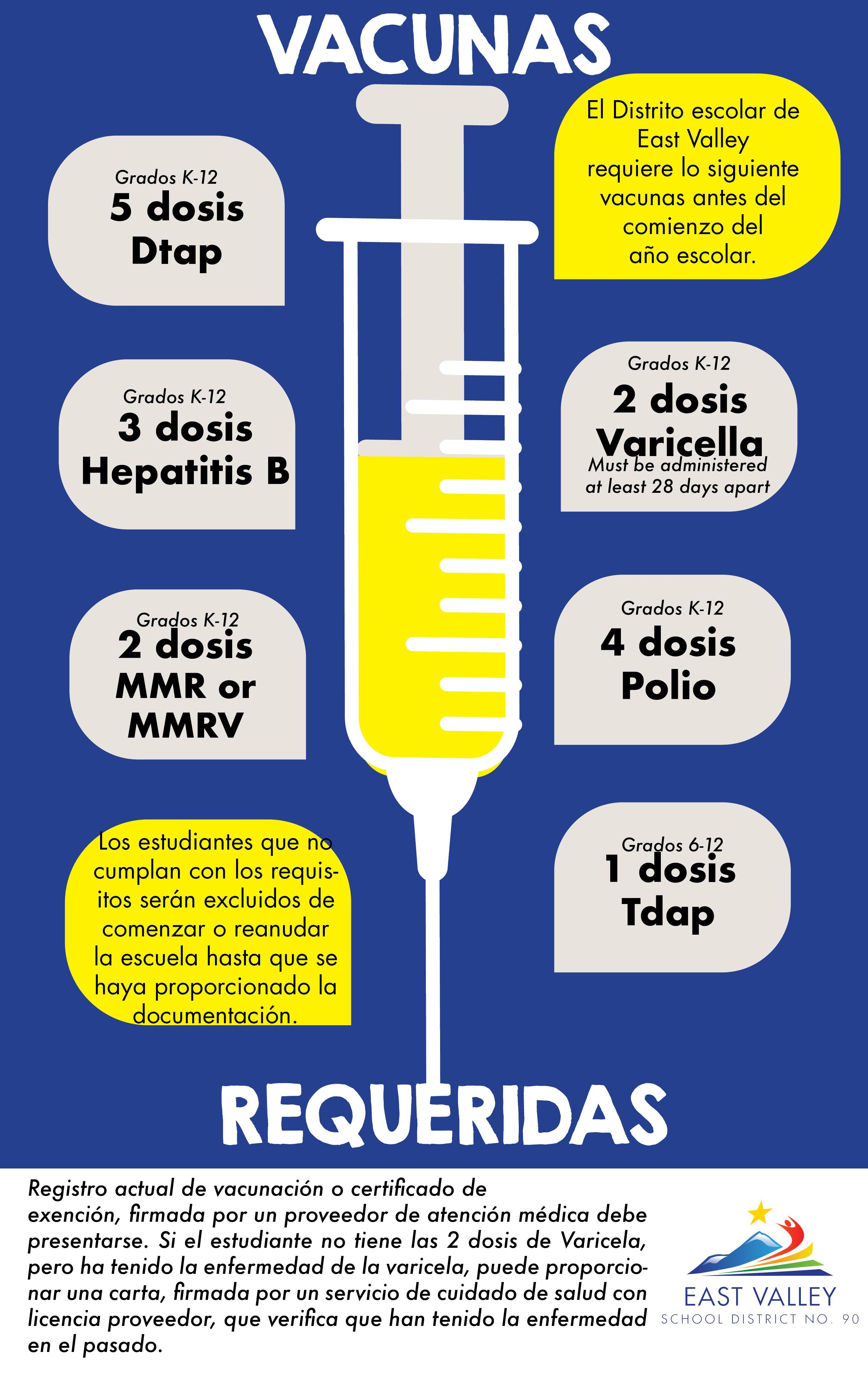 Graphic of a shot with required immunizations as listed in the content of this email page in Spanish.