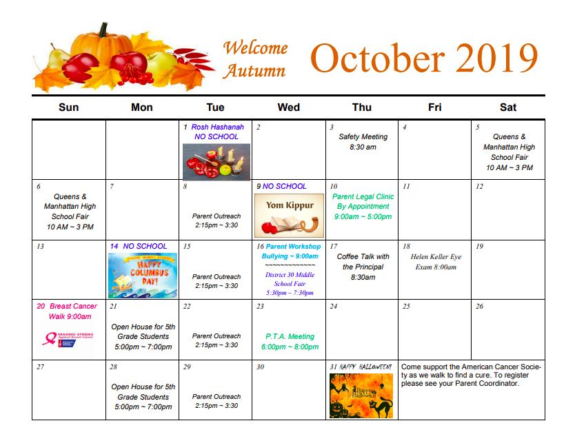 PTA Calendar for October
