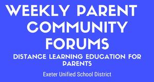 weekly parent community forums