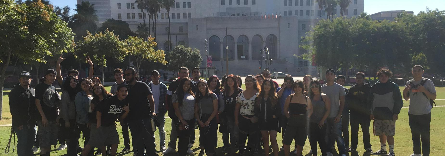 Students and Staff pose for photo in Los Angeles
