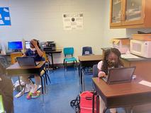 Students using their new Chromebook