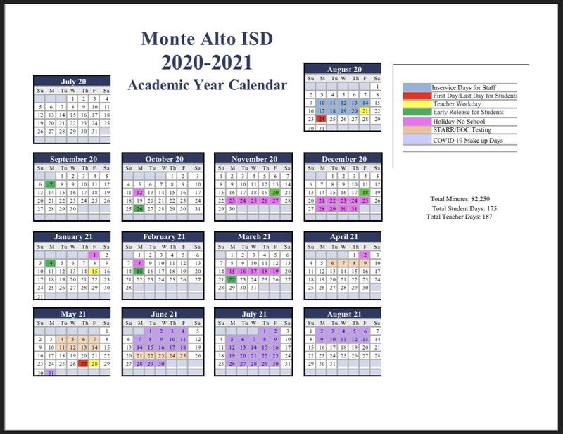 2020-2021 Academic Year Calendar Featured Photo