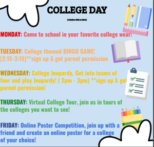 CCA College Day directions for Monday through Friday.