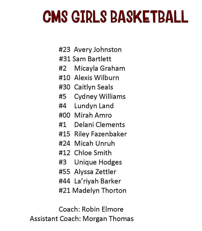CMS Girls Basketball Roster