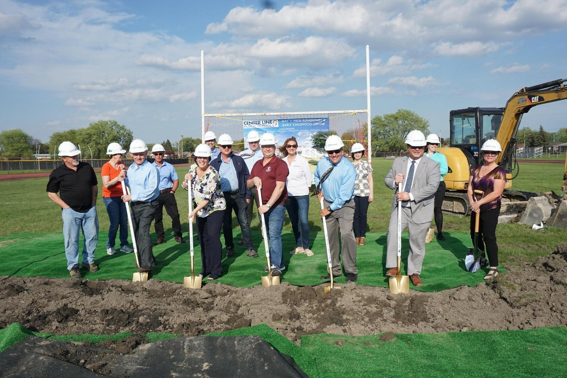 Center Line City Officials and Superintendent Kaltz and Board President Gasowski at Peck Groundbreaking ceremony