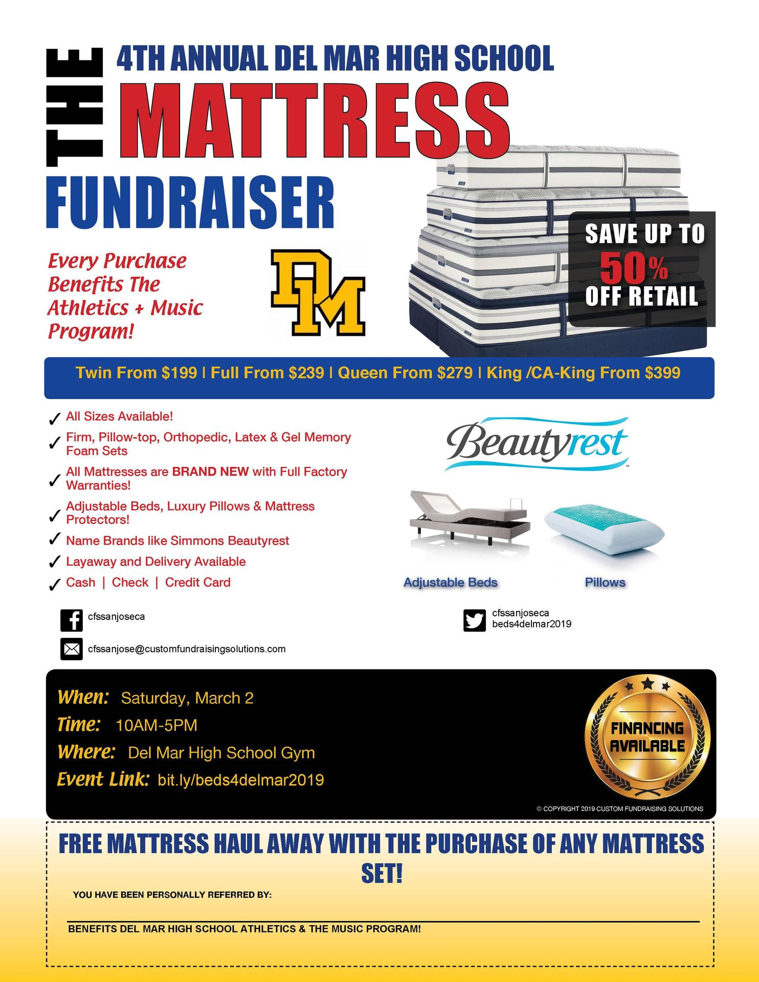 Image of Mattress Fundraiser on March 2, 2019