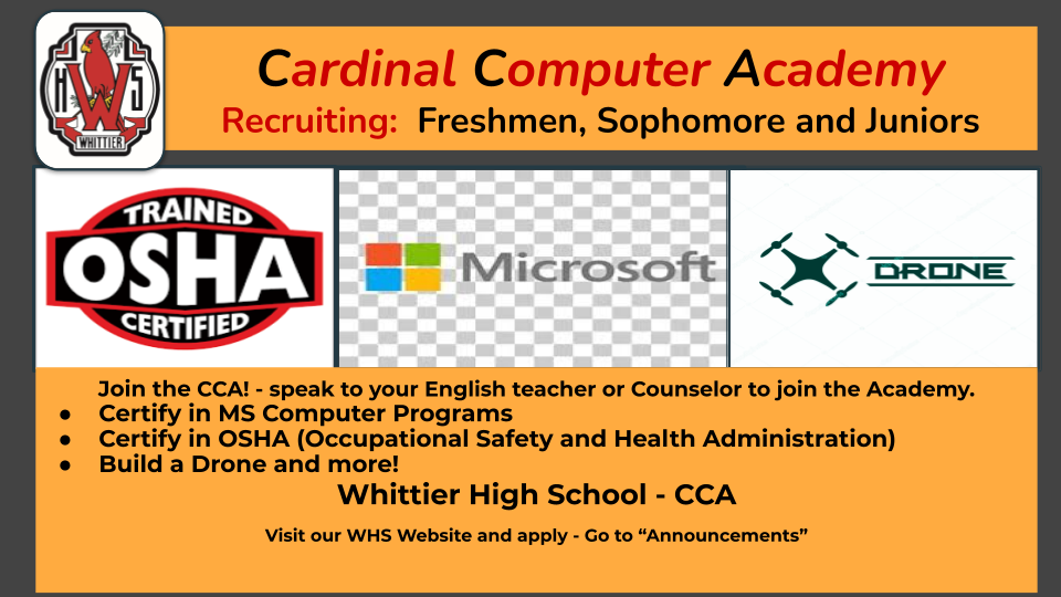 Join the Cardinal Computer Academy - Recruiting Freshmen that will be Sophomores next school year.