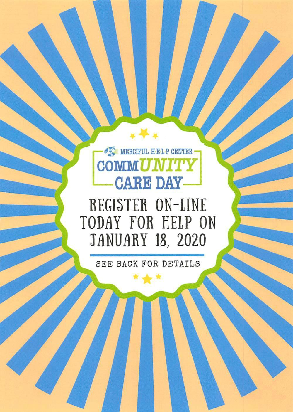 front of the flyer for Community Care Day on January 18. 2020.