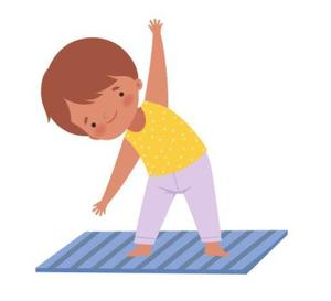 Cartoon image of a student in a yellow shirt and purple pants doing a yoga stretch on a blue yoga mat.