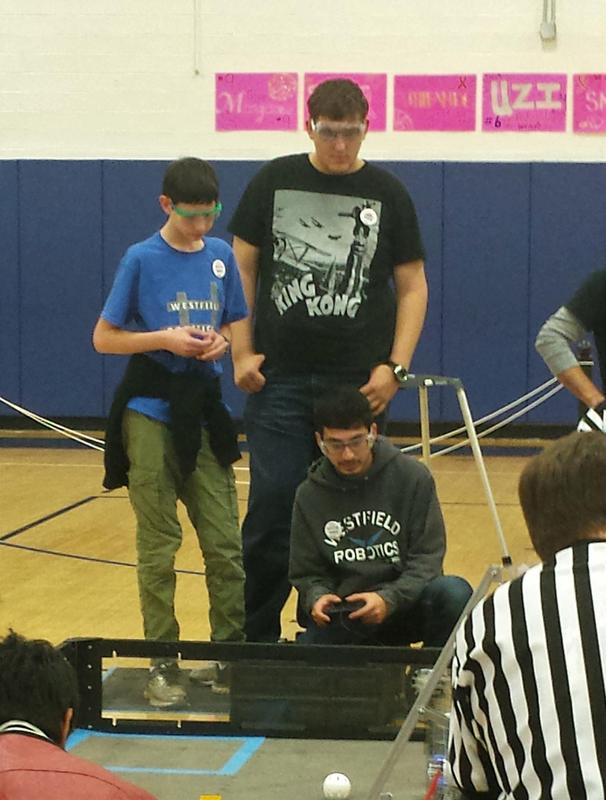 Members of the Westfield Robotics Team guide their robot to complete such tasks as lifting themselves six inches in the air on a lander, collecting blocks and balls and placing them in specific spots, and other skilled challenges, at the FIRST Tech Challenge Robo-Ruckus on Nov. 4 at Westfield High School.
