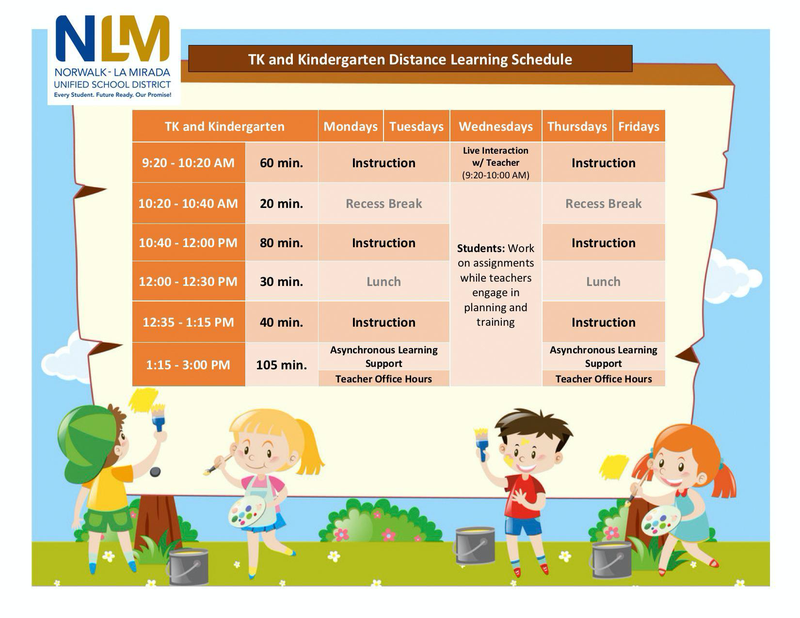 TK-Kindergarten Distance Learning Schedule Featured Photo