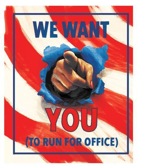poster with finger saying we want you to run for office
