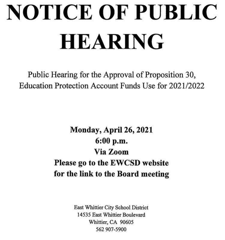 Screenshot of Public Hearing flyer.