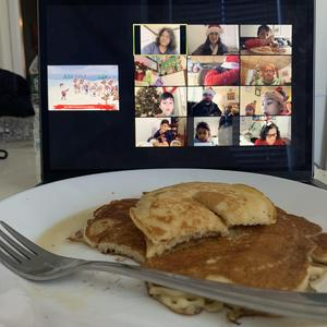 Pancakes in front of computer with zoom