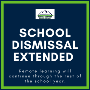 School Dismissal Extended until the end of the school year- graphic