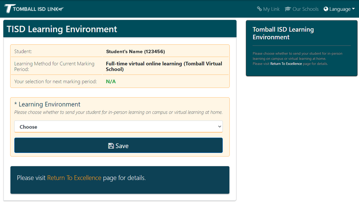 Link Application Current Learning Environment