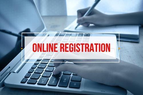 Image that says online registration.