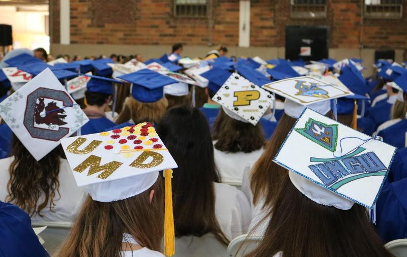 Photo of decorated graduation caps.