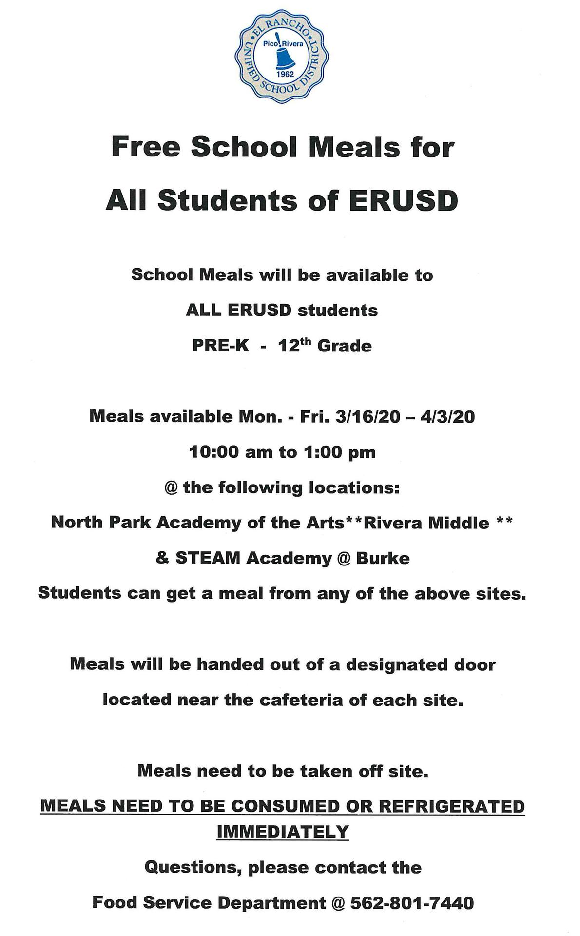 Free Meal Schedule 1