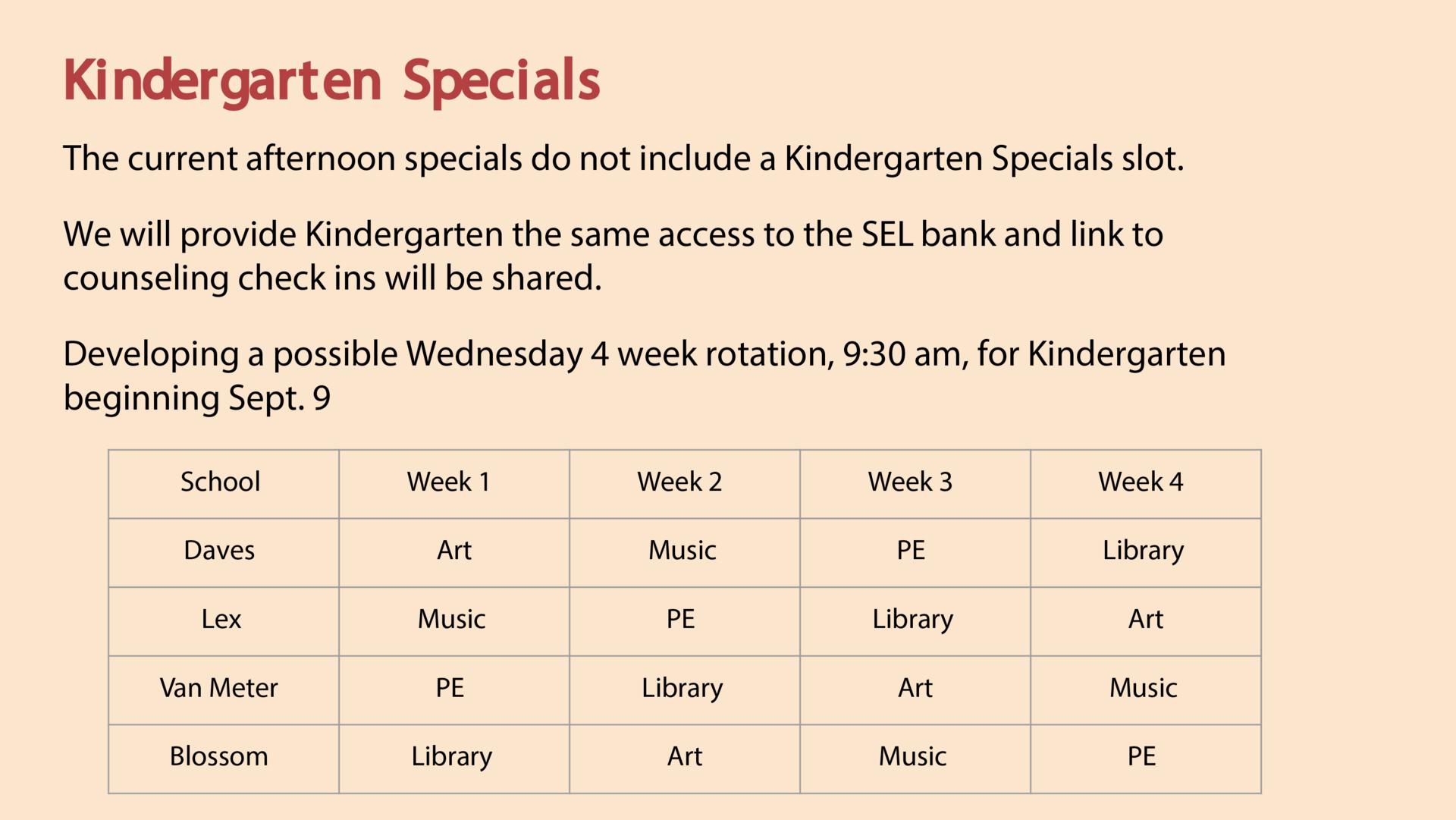 Kindergarten Specials Schedule