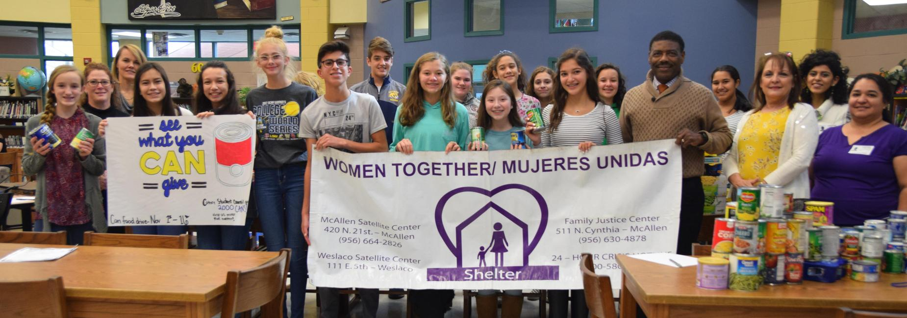 Cathey Student Council donates canned food to Mujeres Unidas