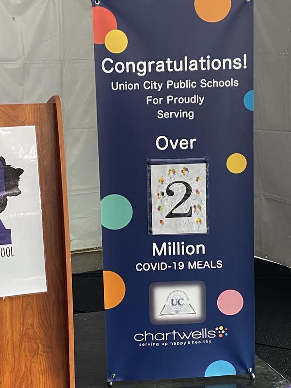 Over 2 million meals served sign