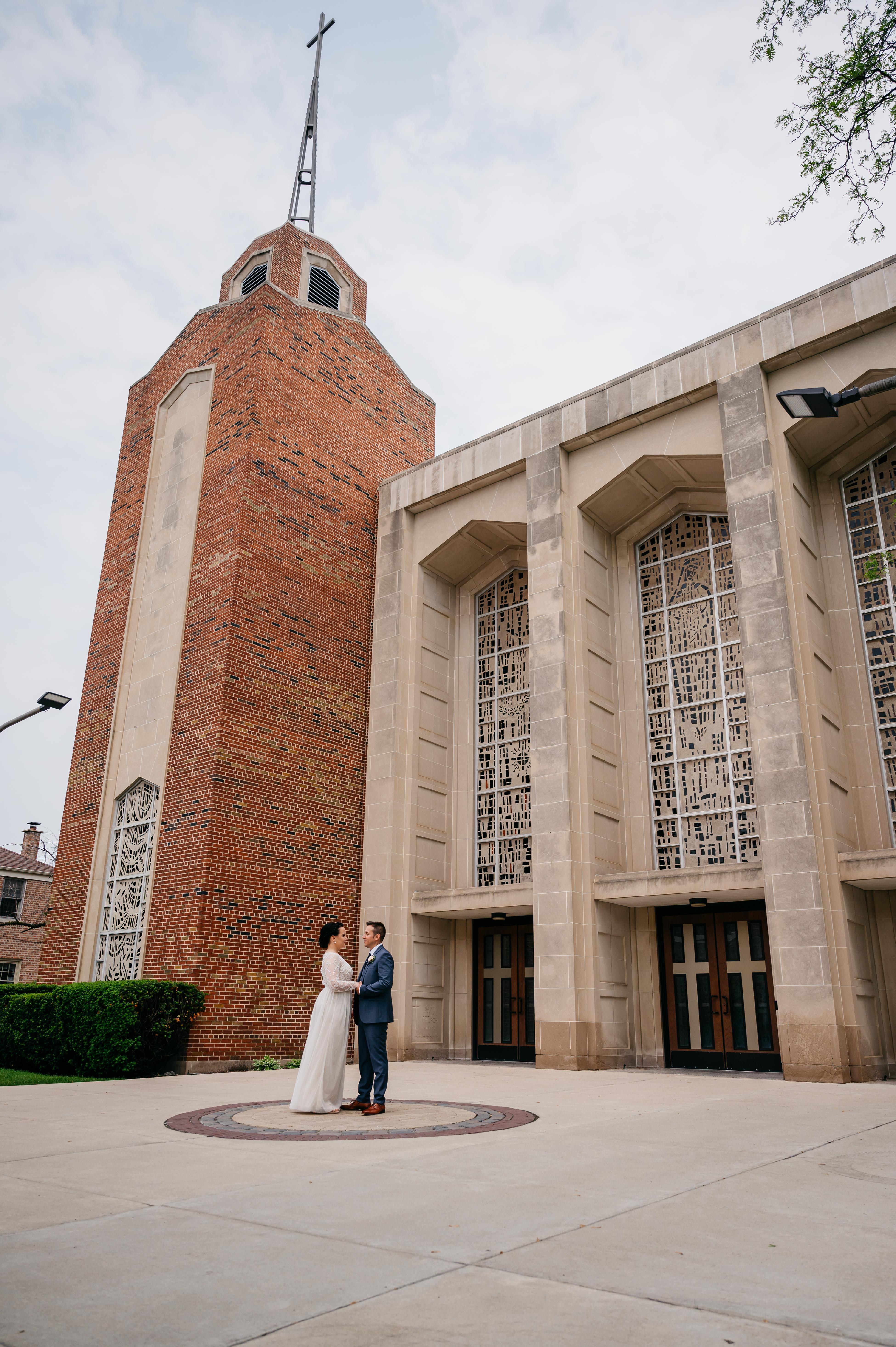 Wedding outside church
