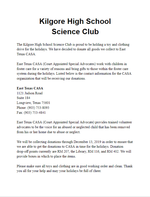 Science Club Clothing/Toy Drive Featured Photo
