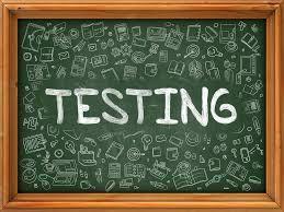 Image of Blackboard with word Testing written across.