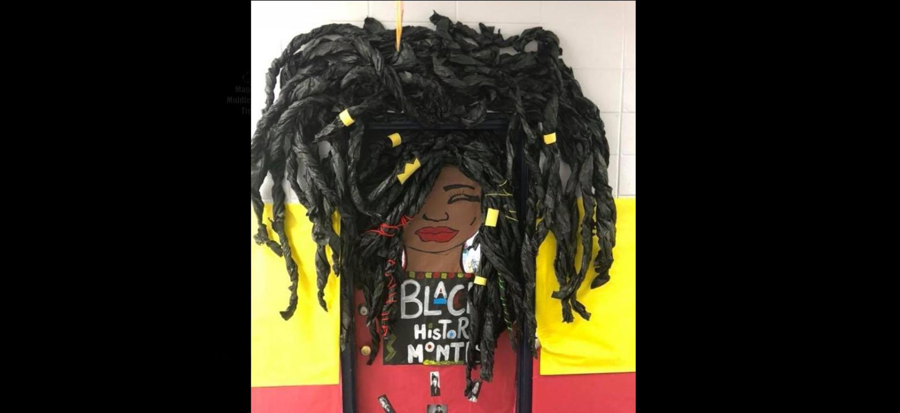 door decorated for black history month