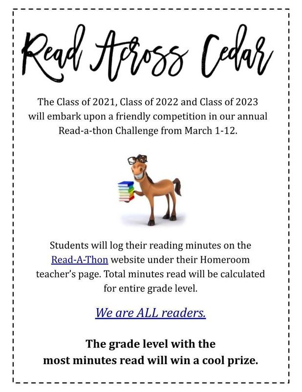 Read Across Cedar - Read-A-Thon March 1-12 Featured Photo