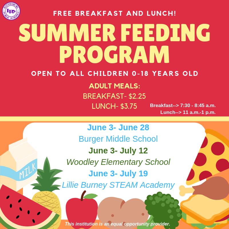 Summer Feeding Program Schedule