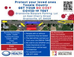 Flyer for No Cost Covid test in Grantsville Utah