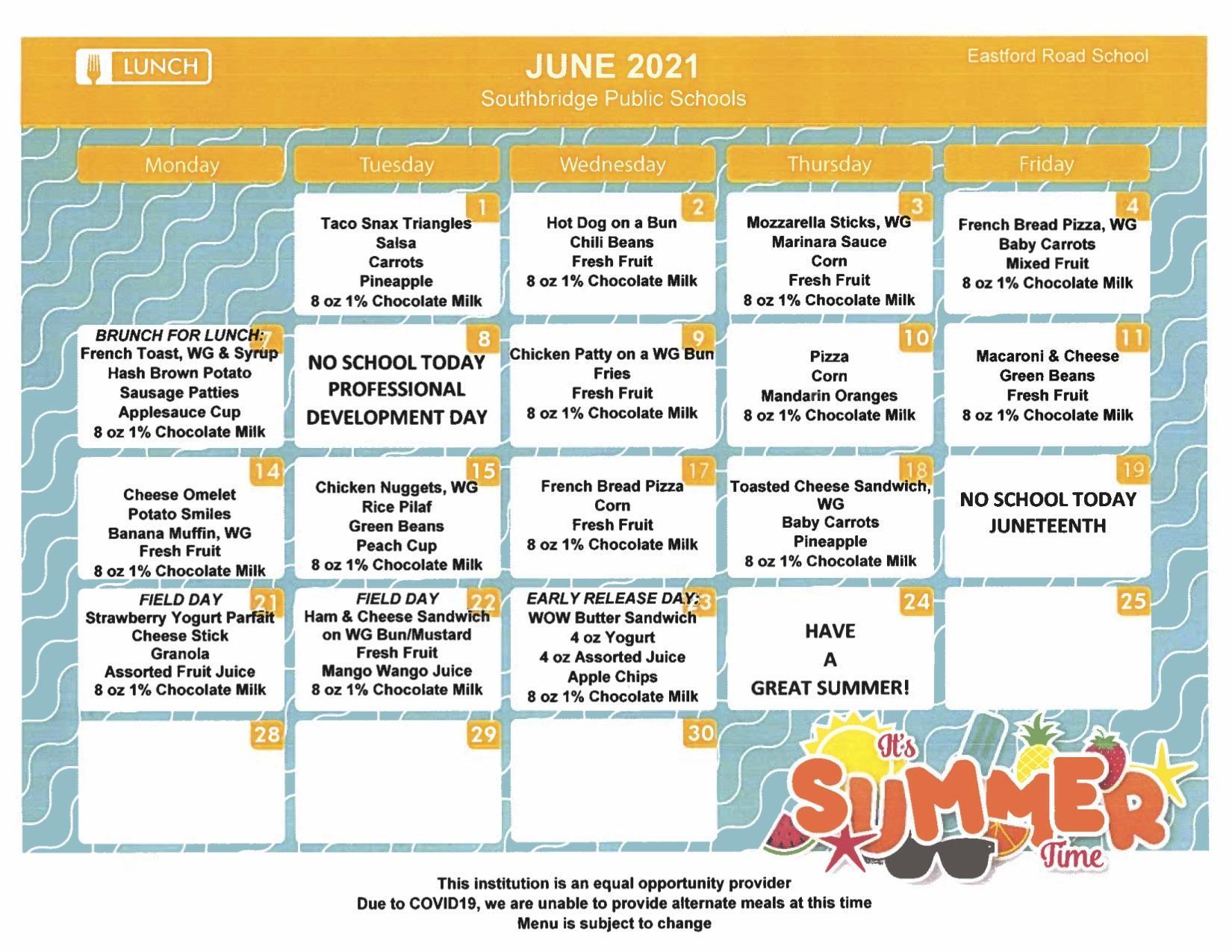 Eastford Road School Lunch Menus - June 2021