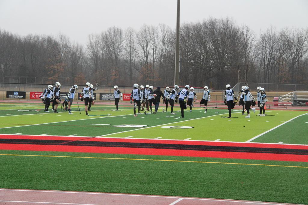 Lacrosse team doing warmups
