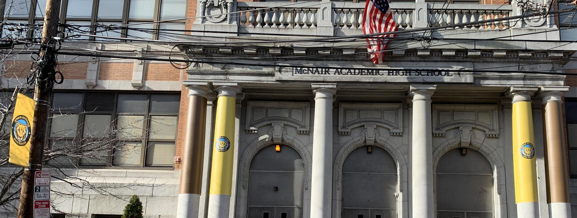 Banners and front of building
