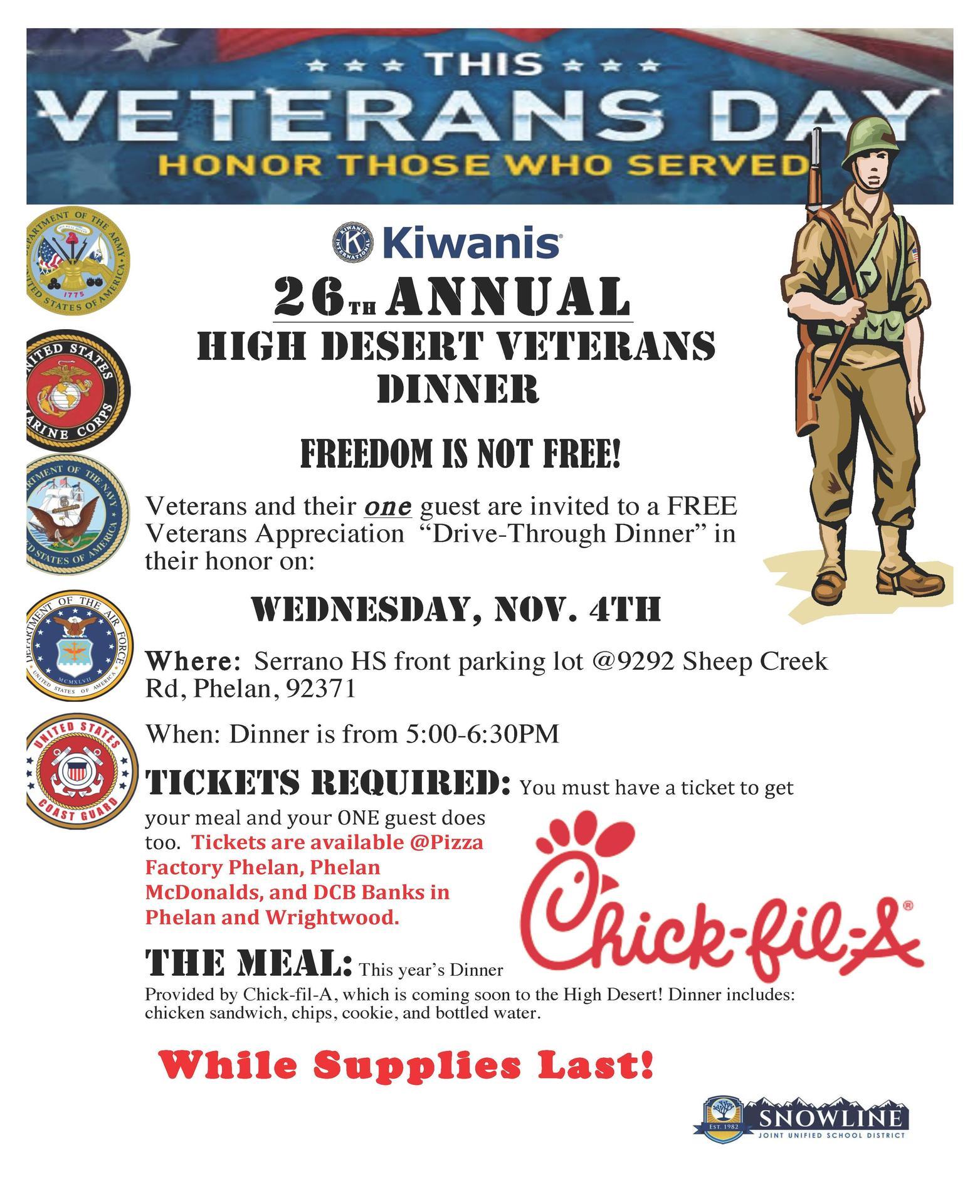 Veterans Day Dinner Flyer