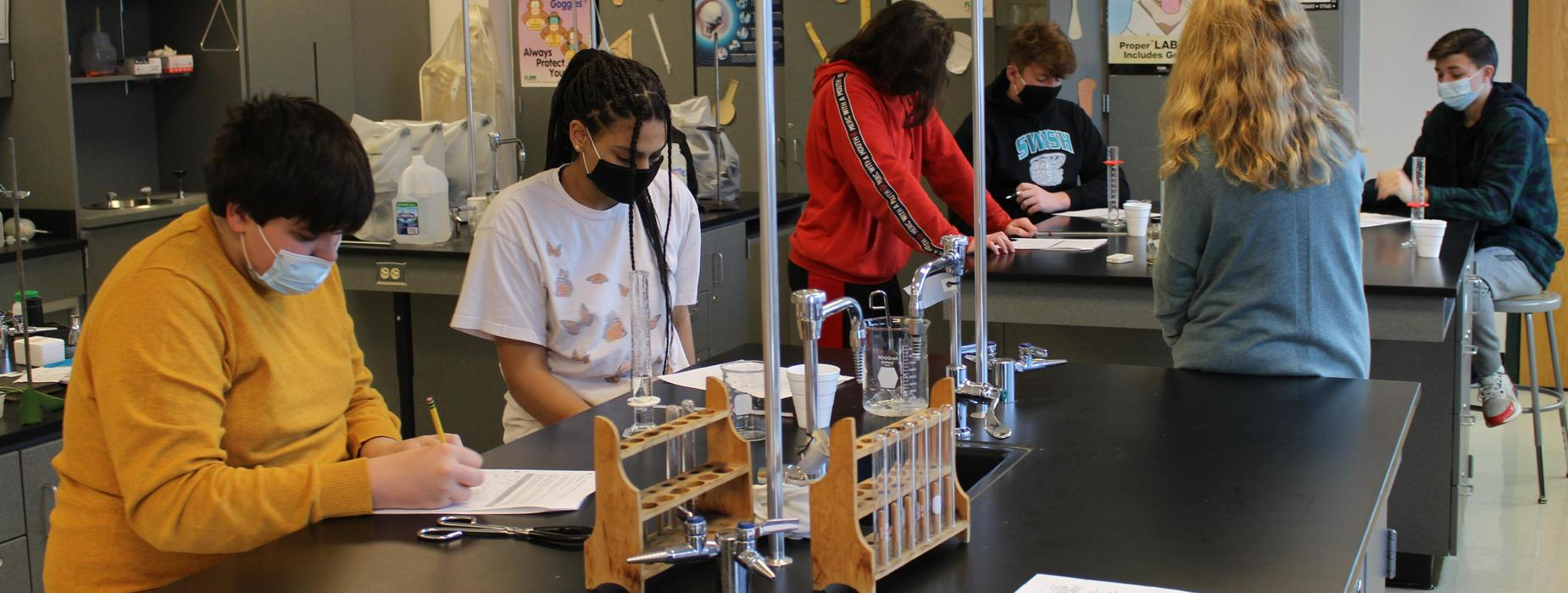 High School students working in a science lab