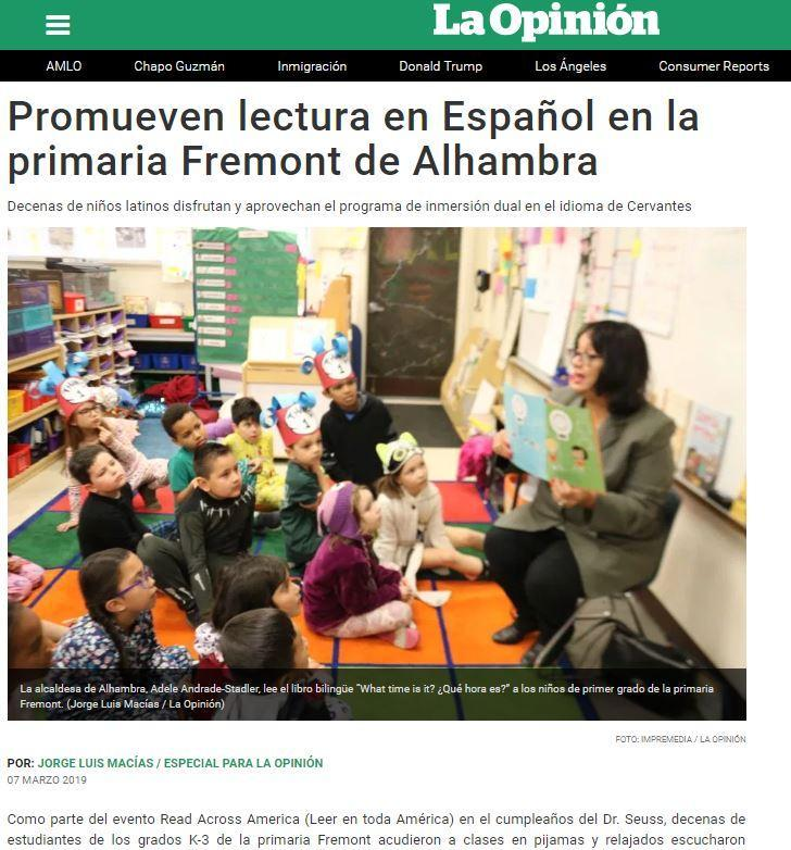 Fremont School's Read Across America Event Featured in La Opinion Featured Photo