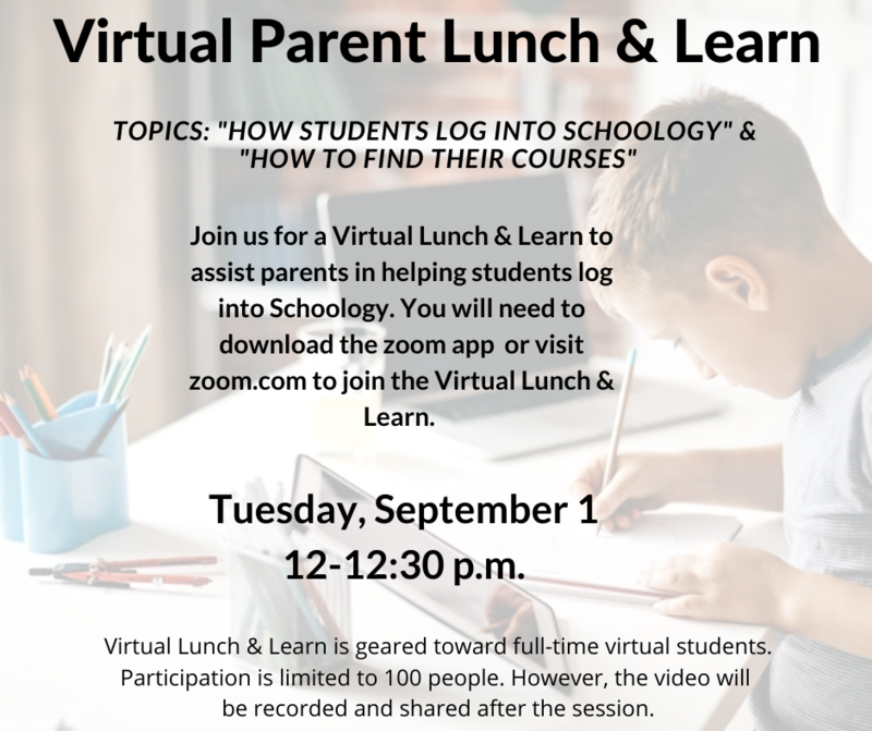 Virtual Parent Lunch & Learn flyer