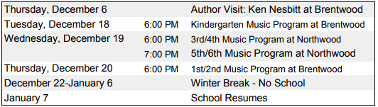 Upcoming Dates at Brentwood