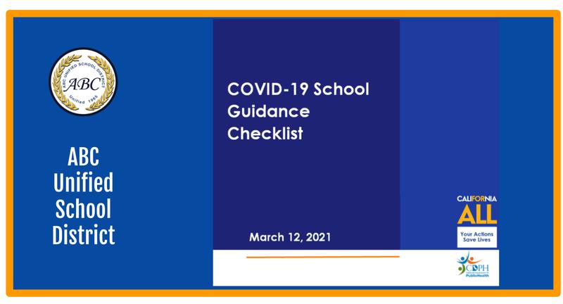 Covid-19 School Guidance checklist announcement