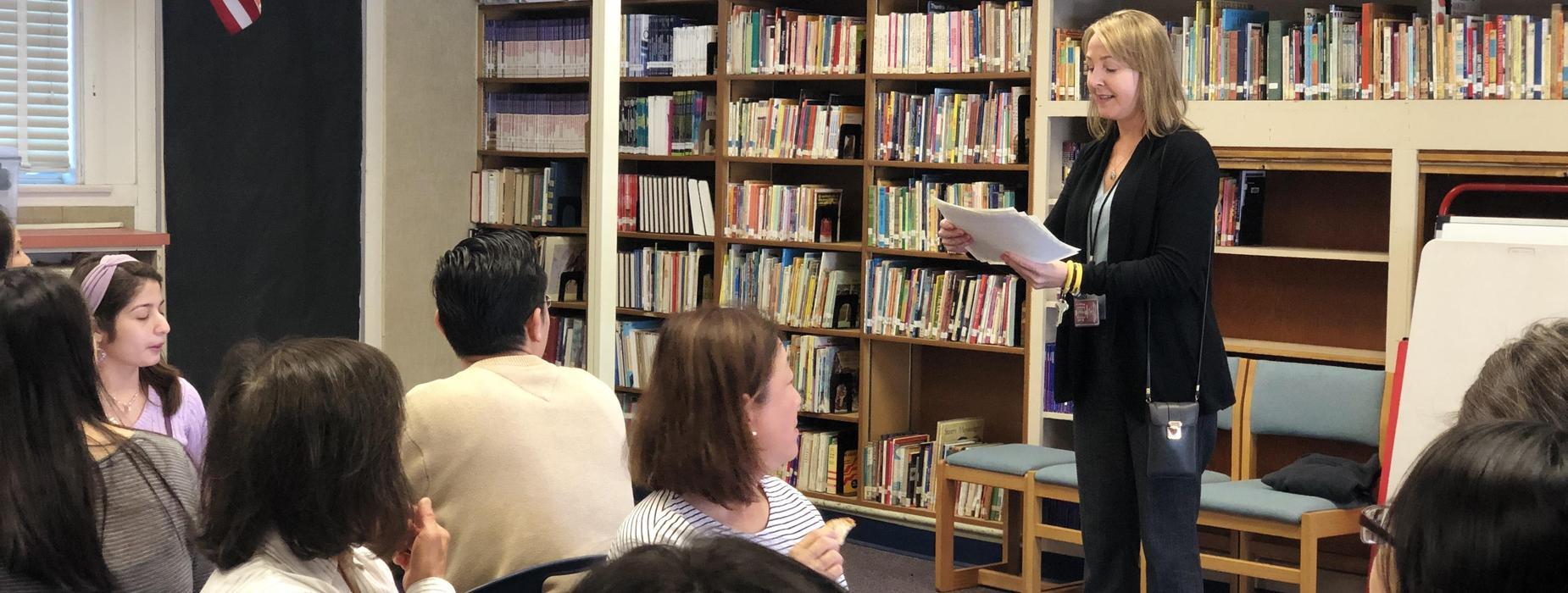Principal Teresa Johnson speaking during staff lunch