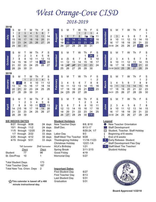 2019-2020 Calendar days will be added to the district website